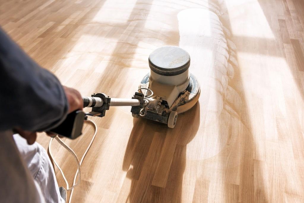sand the parquet floors